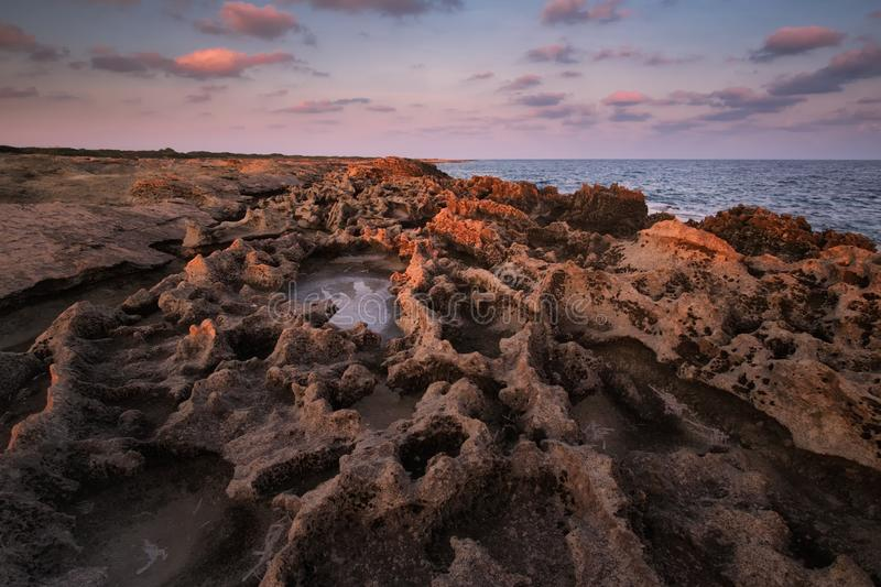 Sunrise at the rocky coast coastline Northern Cyprus stock photos