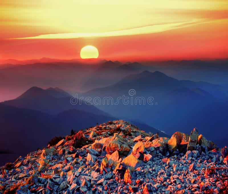 Sunrise on the rocky peaks stock images