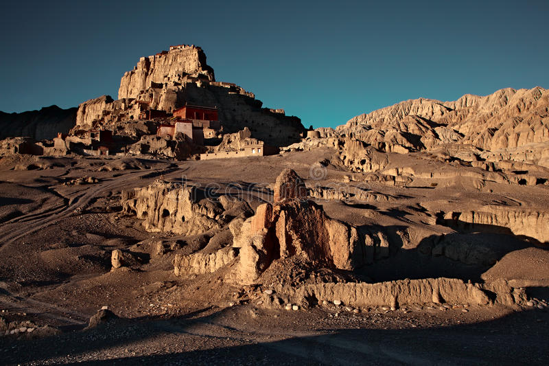 Sunrise in ruins Guge kingdom of Tibet. This picture was taken in Tibet of China. Ruins Guge Kingdom is one of the oldest place of Tibet stock images