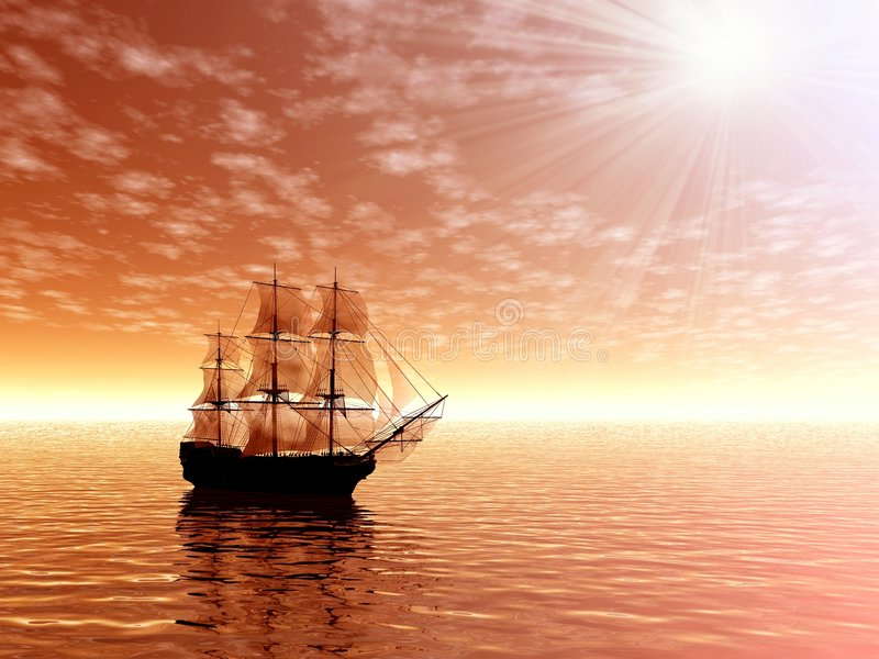 Sunrise. Sailing ship stock photos