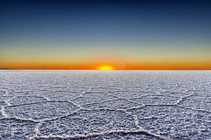 Sunrise in the Salar de Uyuni. Bolivia stock photography