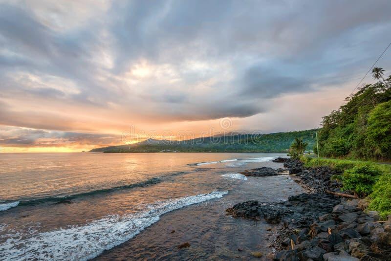 Sunrise in Samoa stock photos