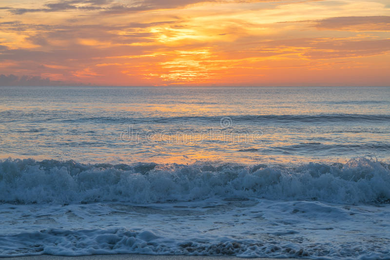 The Sunrise from Satellite Beach, Florida. Fall in Florida results in some spectacular sunrises on the Atlantic Ocean stock photos