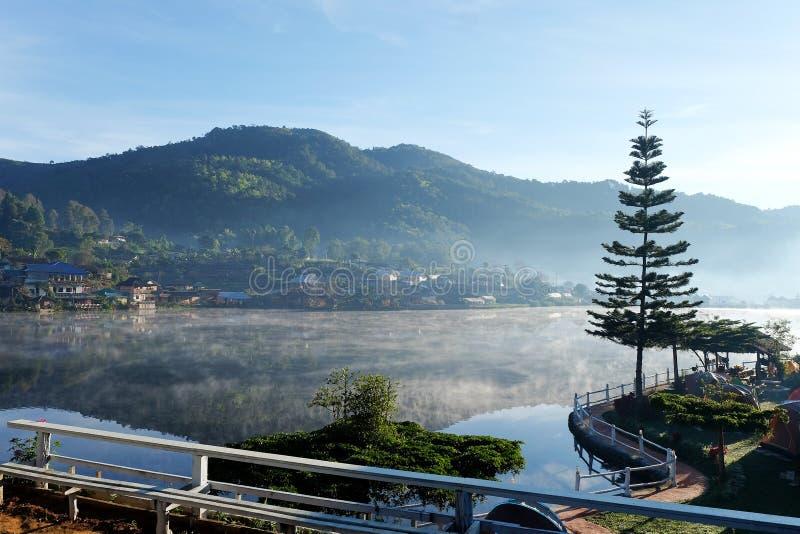 Sunrise scence of Ban Rak thai village. In Mae Hong Son, Thailand stock images