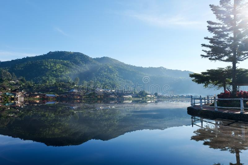 Sunrise scence of Ban Rak thai village. In Mae Hong Son, Thailand royalty free stock image