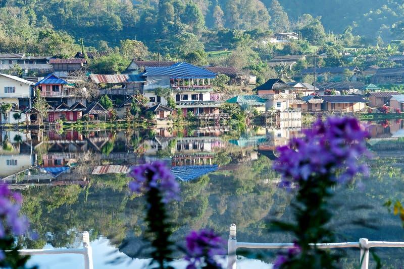 Sunrise scence of Ban Rak thai village. In Mae Hong Son, Thailand royalty free stock images
