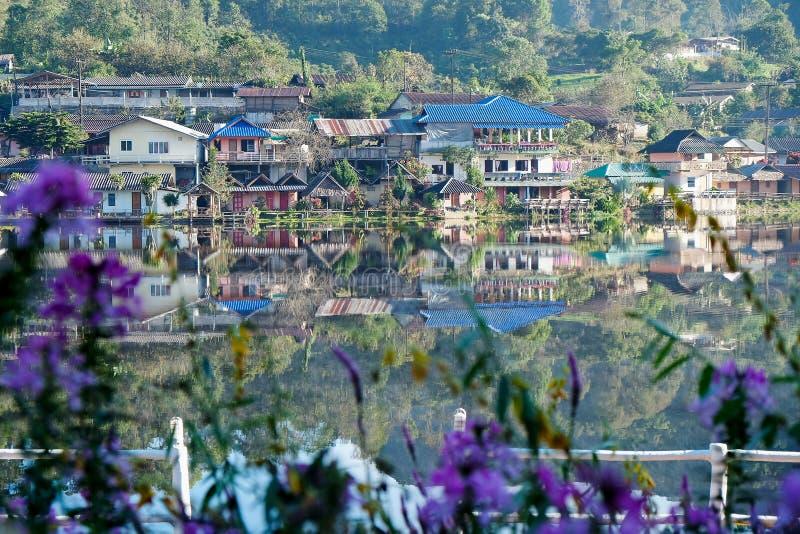 Sunrise scence of Ban Rak thai village. In Mae Hong Son, Thailand royalty free stock photo