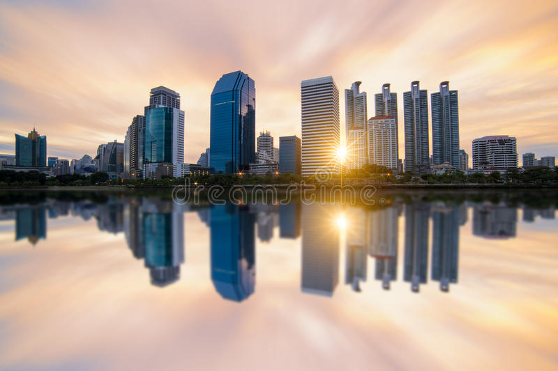 Sunrise scence of Bangkok Panorama. Aerial view of Bangkok modern office buildings and condominium in Bangkok city downtown with sunrise sky and clouds at royalty free stock photos
