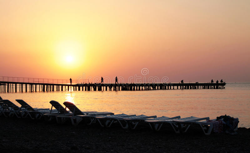 Download Sunrise on the sea stock photo. Image of sunset, pier - 26943724