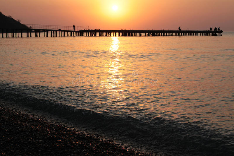 Download Sunrise on the sea stock image. Image of water, fishermen - 26943737