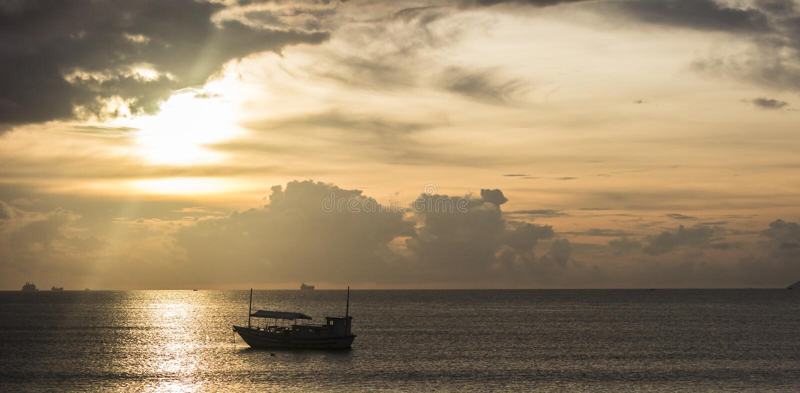 Sunrise at sea in Asia royalty free stock photo