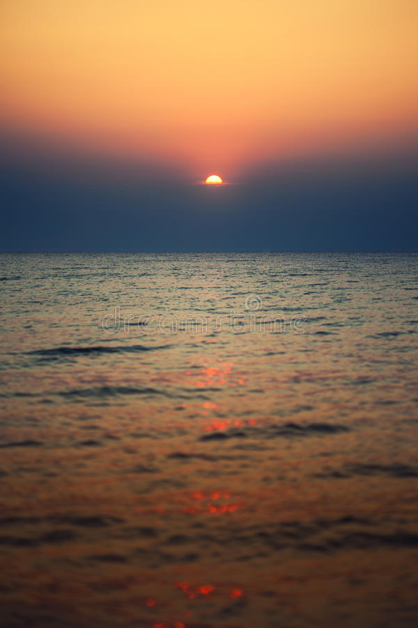 Sunrise in the sea. Sunrise in the black sea royalty free stock images