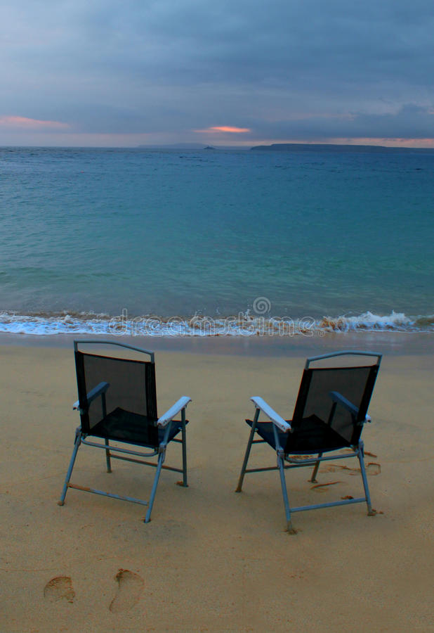 Sunrise, Sea and Chairs stock photography