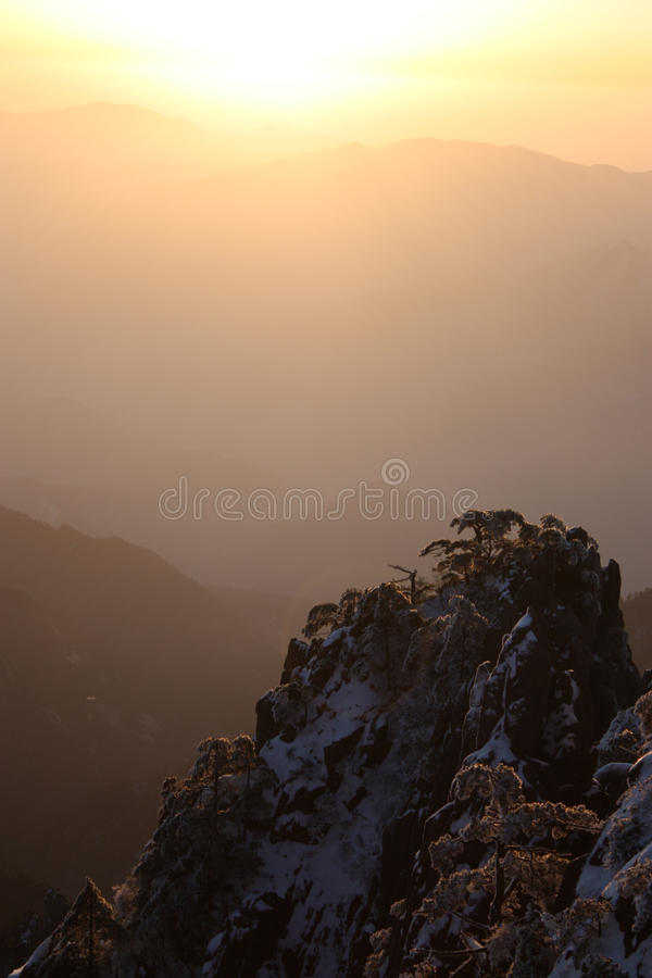 Sunrise on the Sea of Clouds royalty free stock photography