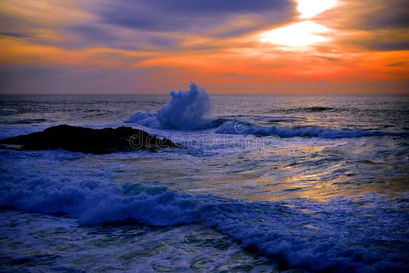 Sunrise on the sea, many clouds in the sky , Atlantic Ocean. Sunrise on the sea, many clouds in the sky.The new day and the new hope stock photos