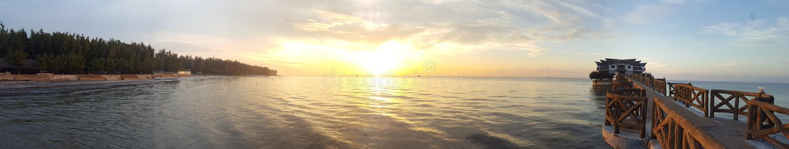 Sunshine at Can Gio Sea. Sunrise in the sea Need hours, this place is very peaceful, fresh seafood and very fresh, good price. is a good place to travel stock photos