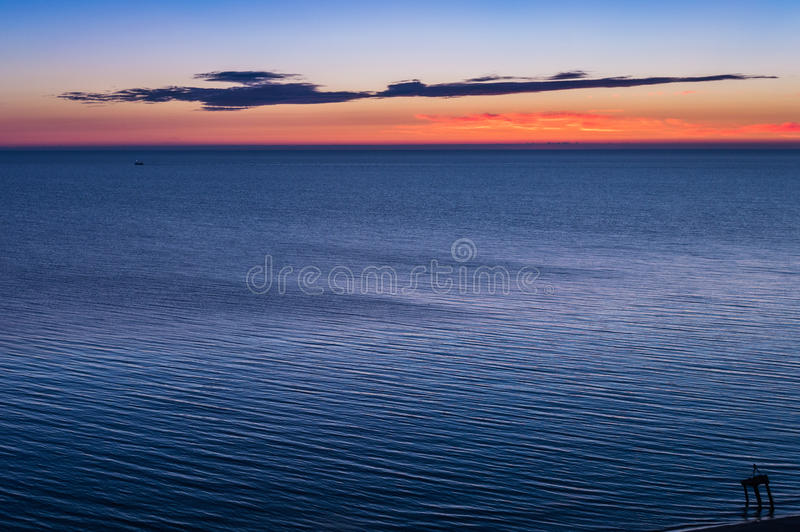 Sunrise at sea shore. Colorful sky.  stock images