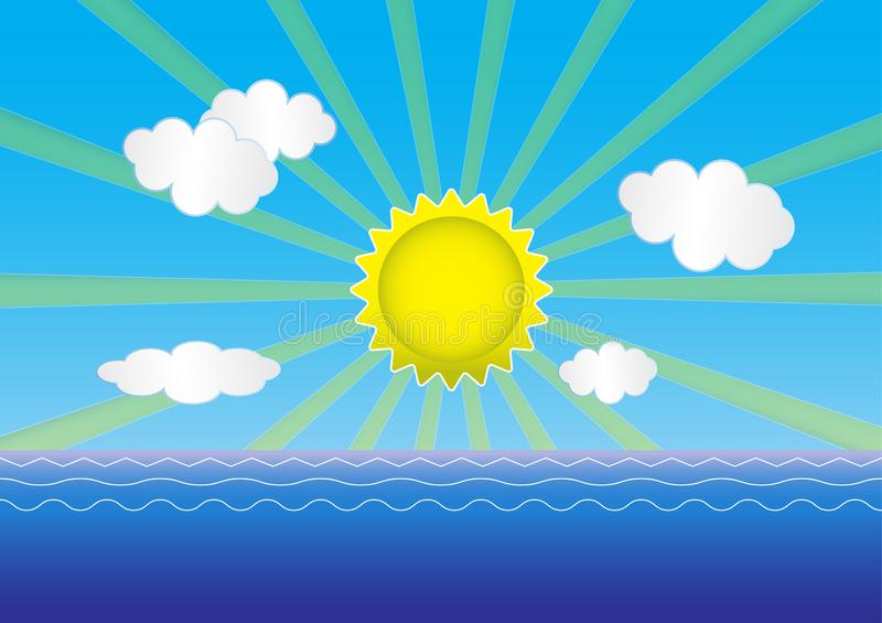 Sunrise at the sea. Is a general illustration vector illustration