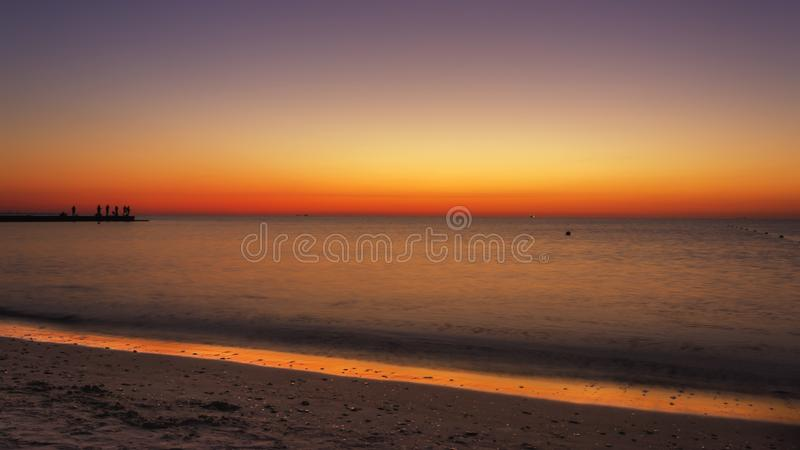Sunrise at the seaside royalty free stock photography