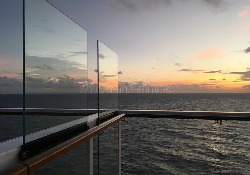 Sunrise Seen on Cruise Ship Deck royalty free stock photography