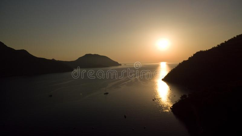 Sunrise silhouette on the beach Turkey aerial royalty free stock photography