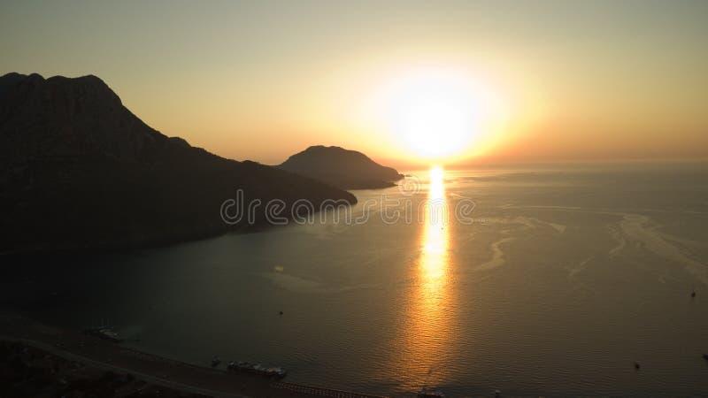 Sunrise silhouette on the beach Turkey aerial royalty free stock image