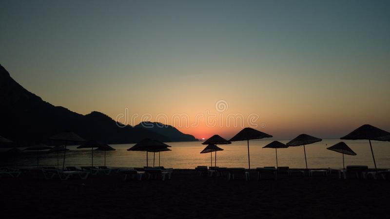 Sunrise silhouette on the beach Turkey aerial royalty free stock images