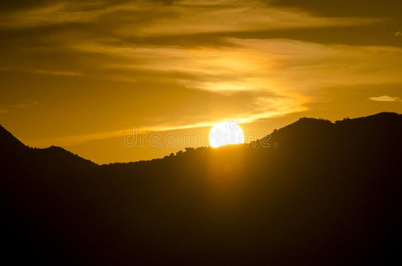 Sunrise with silhouette of hills near Huesca in Saragossa Province. Spain. View of the horizon at sunrise on a rolling hillside close to Huesca, Saragossa stock image
