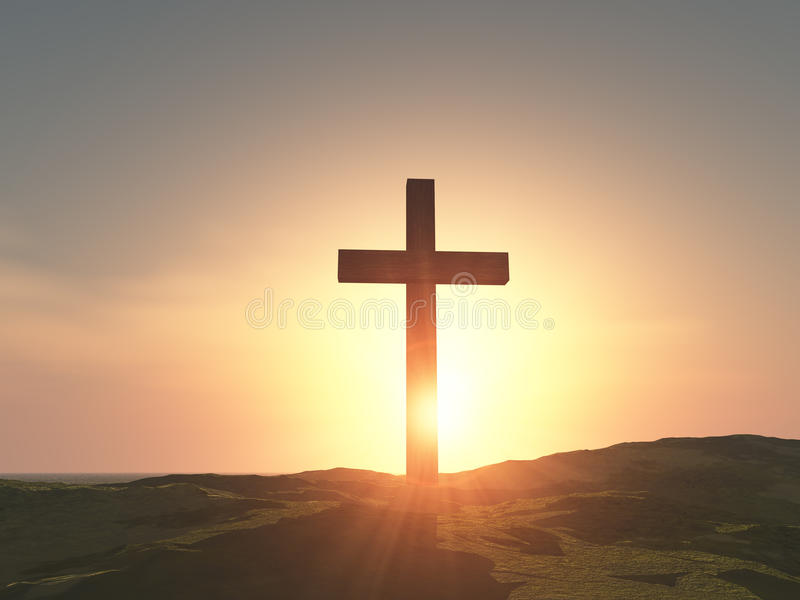 Single wooden cross. Sunrise and single wooden cross on the hill stock photos