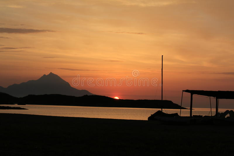 Sunrise. Sinrise over Athon, Agios Oros in Greece royalty free stock photos