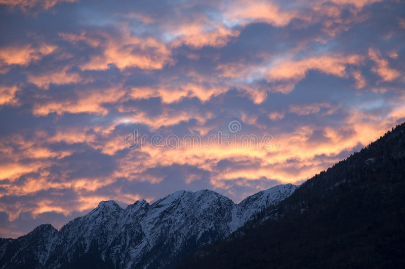 Sunrise sky. With lighted clouds stock photos