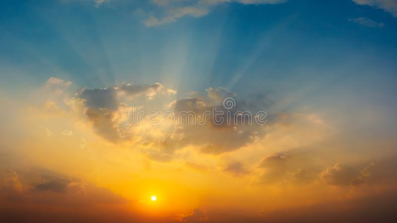 Sunrise in the sky with blue and orange natural background stock photos