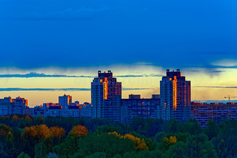Sunrise sky city. stock photo