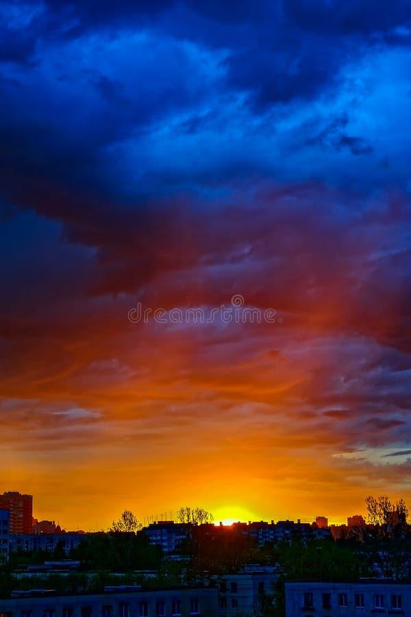 Sunrise sky city. stock photos