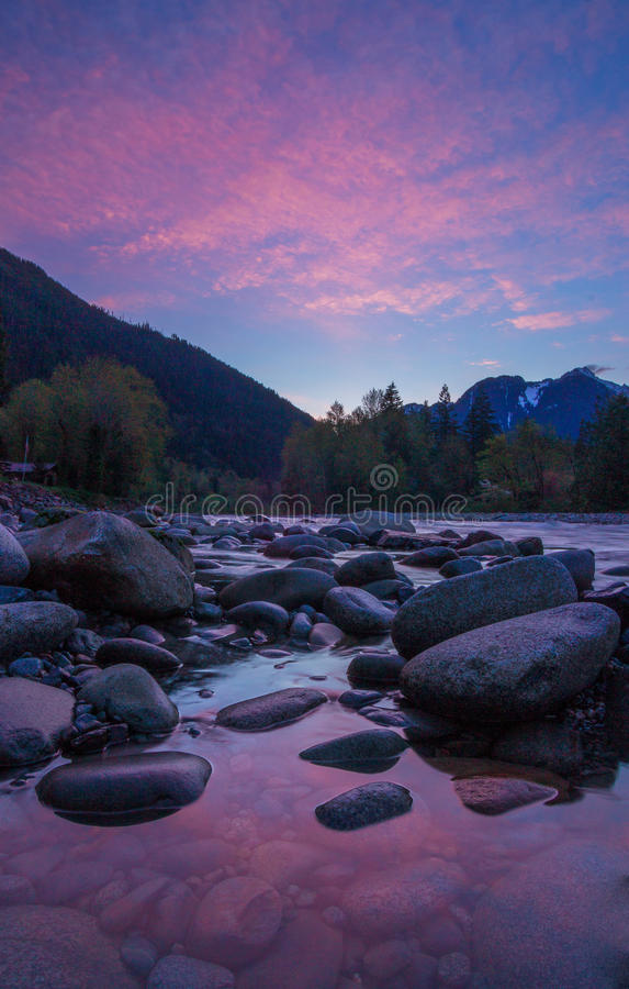 Sunrise on the Skykomish River, Washington State royalty free stock photos