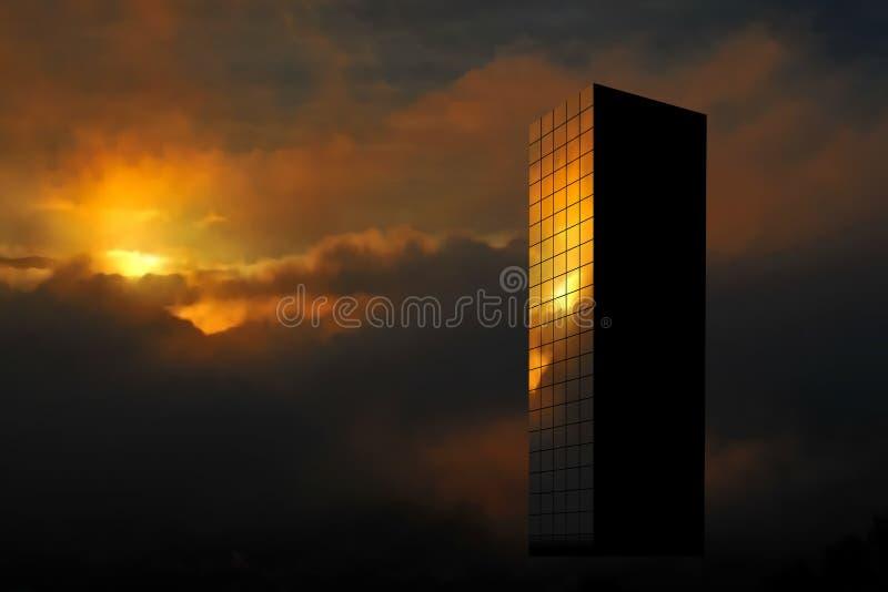Sunrise skyscraper royalty free illustration