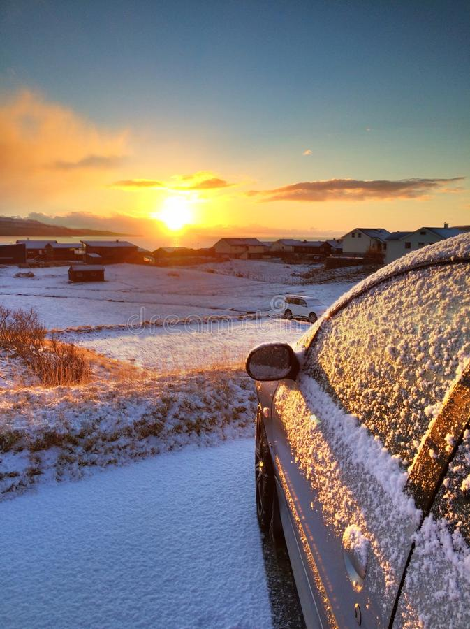 Sunrise and Snow in Torshavn, Faroe islands royalty free stock photography