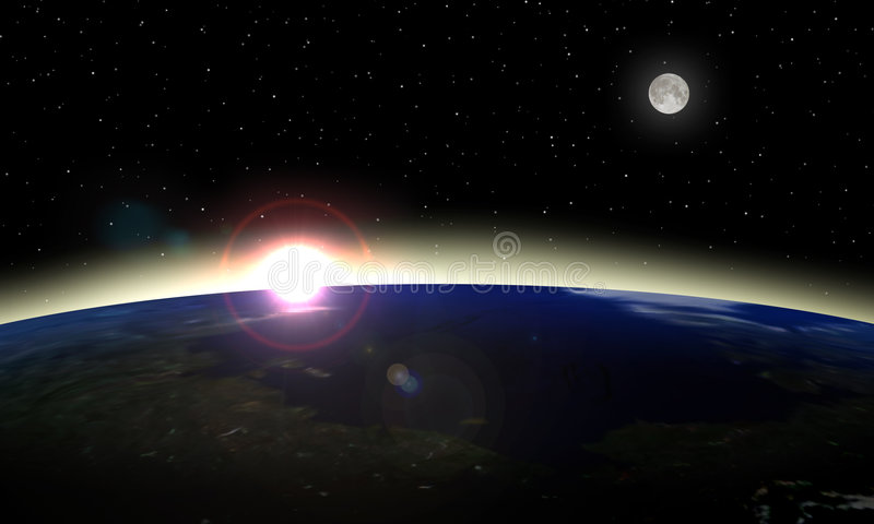 Sunrise from space. Computer generated sunrise over blue-green planet