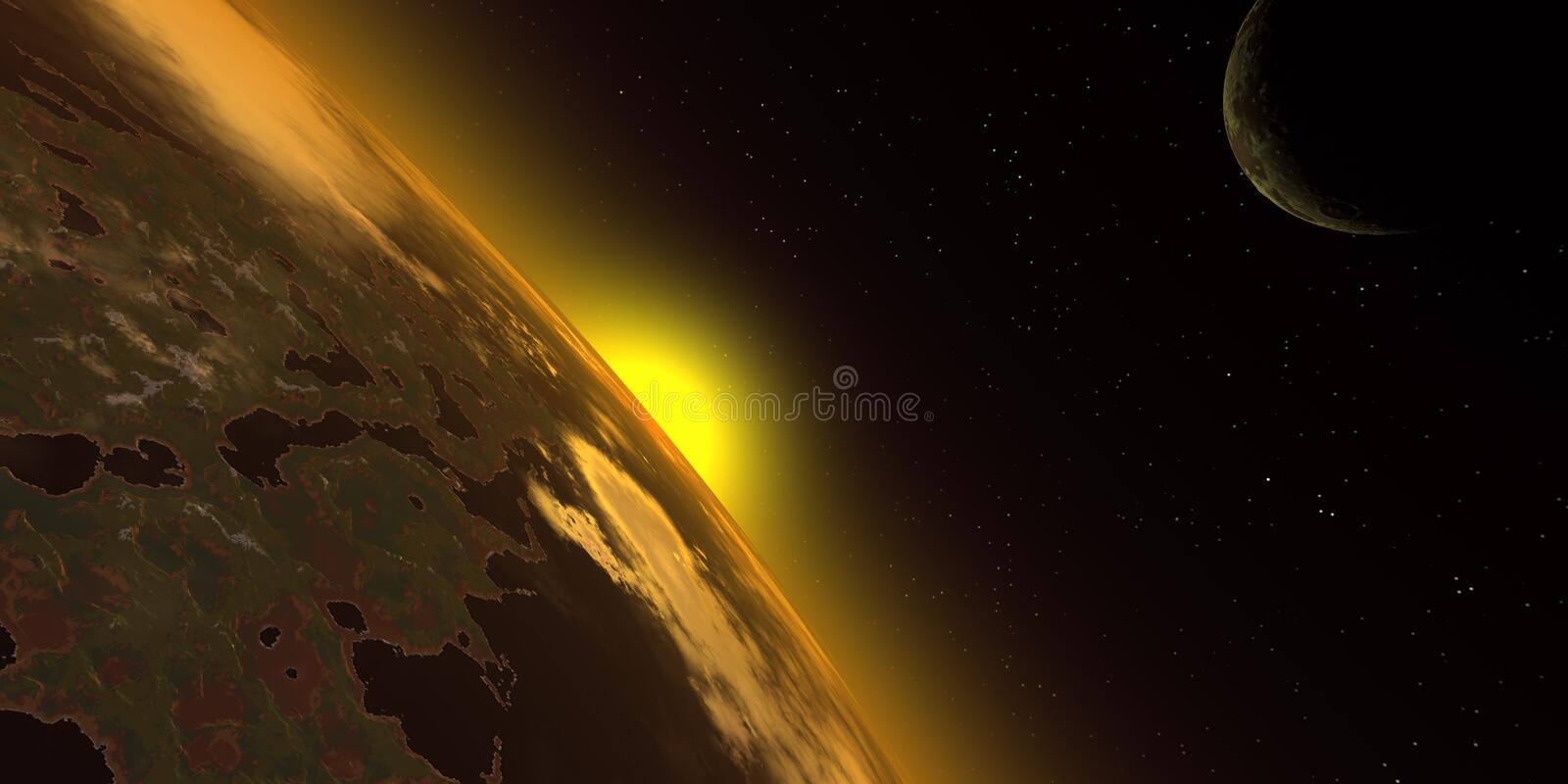 Sunrise in the space stock illustration