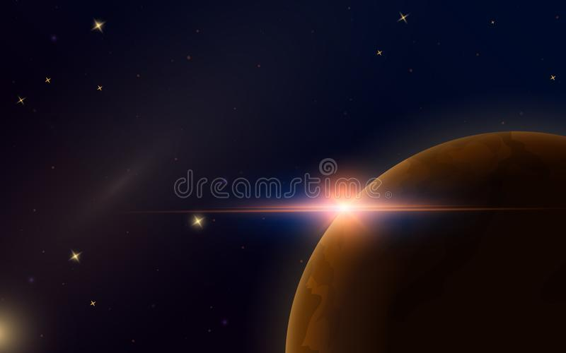 Sunrise in space. Red Planet Mars. Astronomical galaxy background. Light in the night sky. Solar system for the banner vector illustration