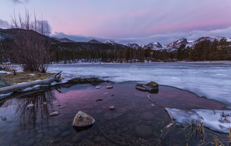 Sunrise on Sprague Lake in Rocky Mountain National park stock photos