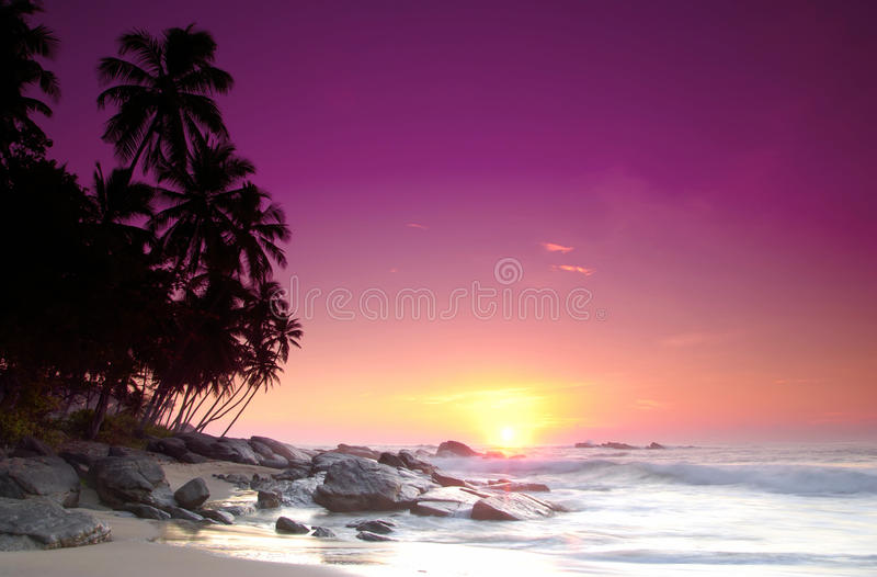 Sunrise on Sri Lanka stock images