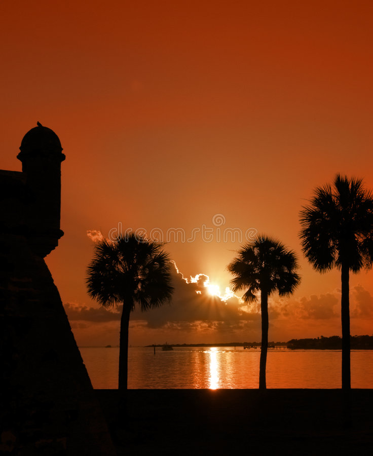 Sunrise in St. Augustine, FL. Sunset with orange tint in St. Augustine, Florida stock images