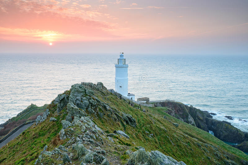 Sunrise at Start Point. Lighthouse on the south coast of Devon royalty free stock photos