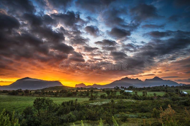 Sunrise at Storeidet in Lofoten islands stock photos