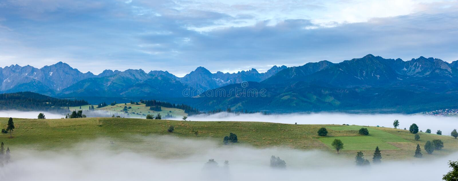 Download Sunrise And Summer Misty Mountain Country Panorama Stock Photo - Image: 31430152