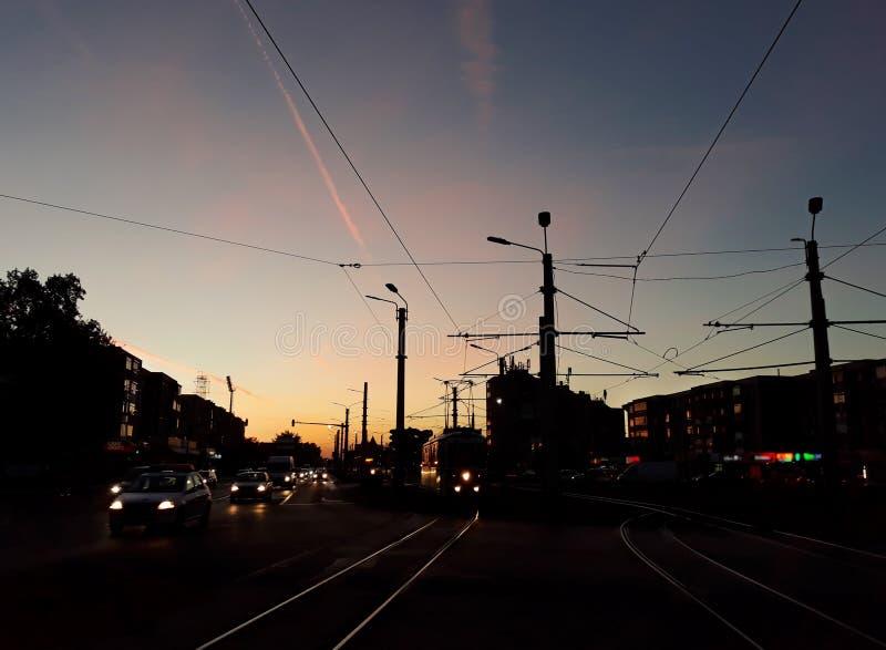 Sunrise, summer time in Arad city - Romania stock image