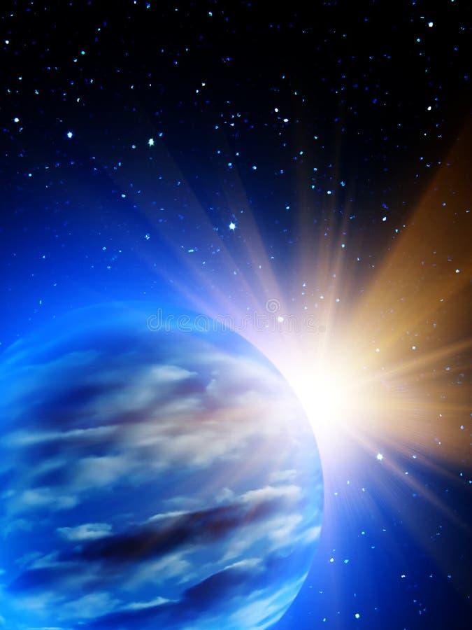 Sunrise sun Earth stars royalty free illustration