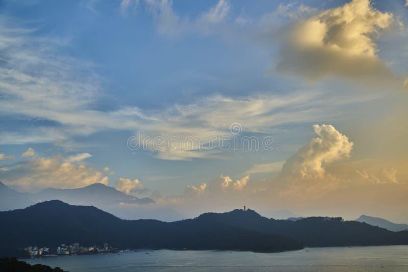 Sunrise at Sun Moon Lake in Taiwan stock images