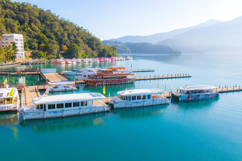 Sunrise in Sun Moon Lake Taiwan stock images
